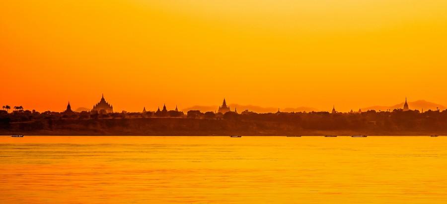 bagan, myanmar, temple, bricks, pagoda, burma, asia, india, hindu, sunset, river, lanscape, cityscape, skyline,