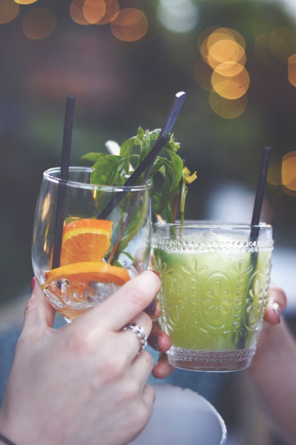 greetings, drinks, friendship, celebration, toast, friends, drink, outdoors, mojito, mint, orange slices, drinks, glasses, hands, women, girls, bokeh effect