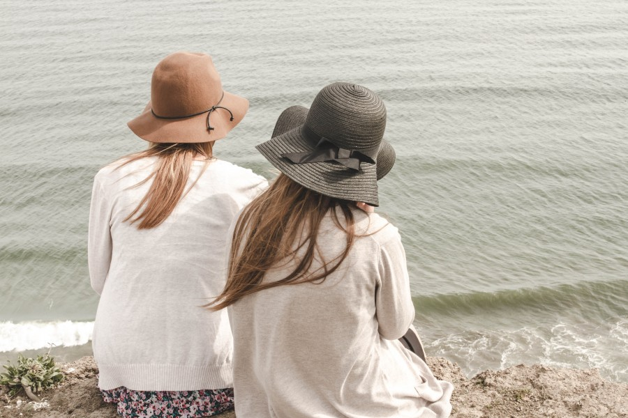 two, people, woman, women, young, teenage, day, beach, coast, hat, sister, sisters, leisure, outdoor,