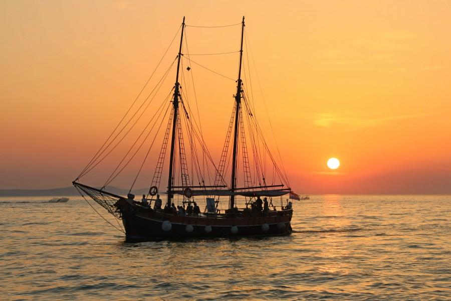 boat, sailboat, sunset, landscape, sea, ocean, boating, sailing, travel, traveling, ship,