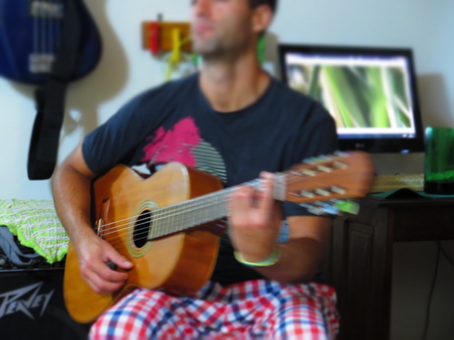 man, guitar, music, playing, young, 20 years, interior, activity, acoustic,