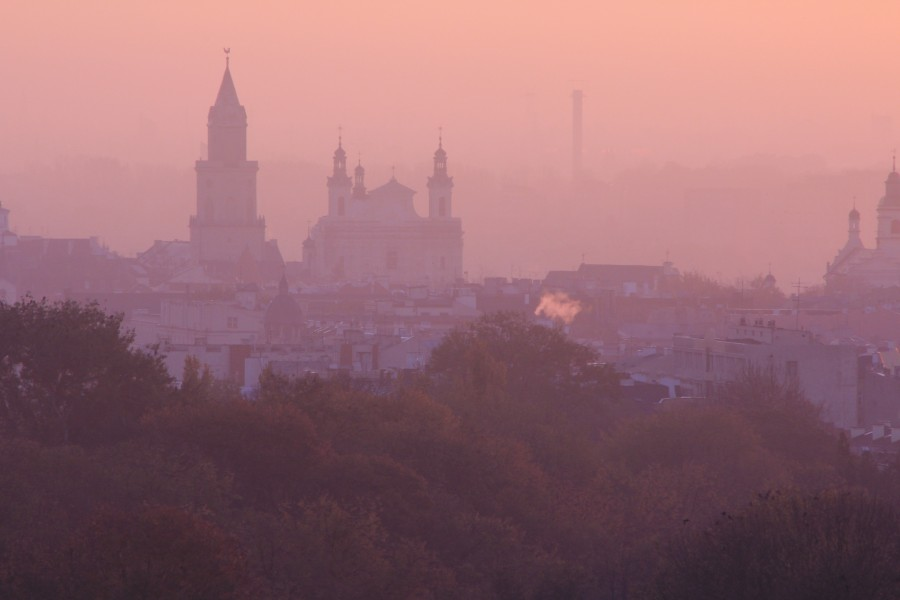 Poland, sunset, city, lublin, landscape, red, dawn,