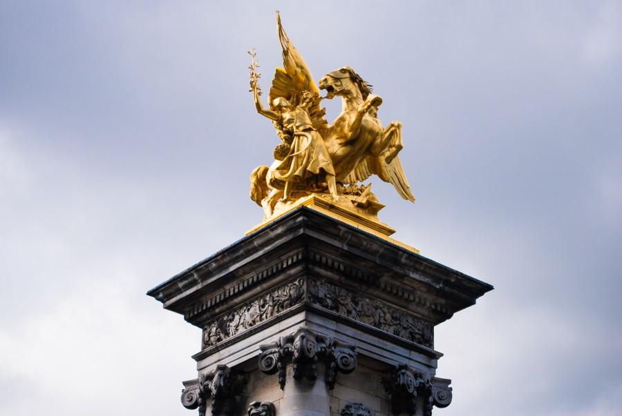 aris, France, Statue, Pont Alexandre III, bronze, gold, horse, winged, Bridge, Seine, Architecture, Monument, Gold, Beaux Arts