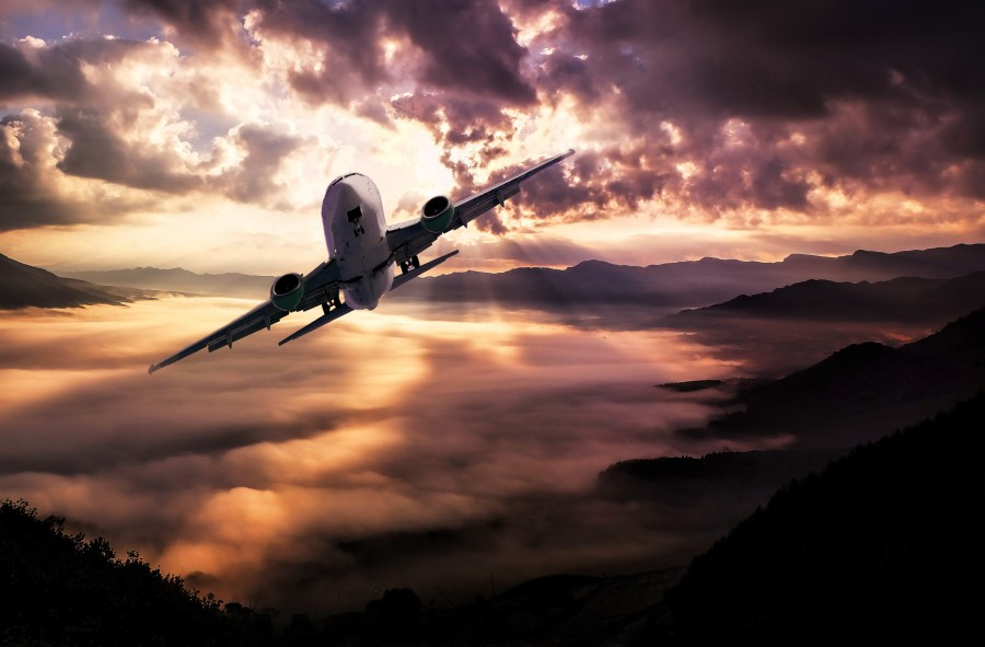 Landscape, aircraft, clouds, storm, sunset, lighting, sky, flying, plane, hd wallpaper