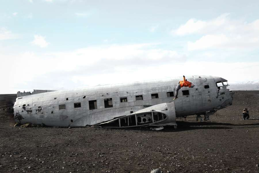 airplane, lost, abandoned, old, fuselage, iceland, adventure, discovery, lost, lose, accident, reach, concept, transportation,