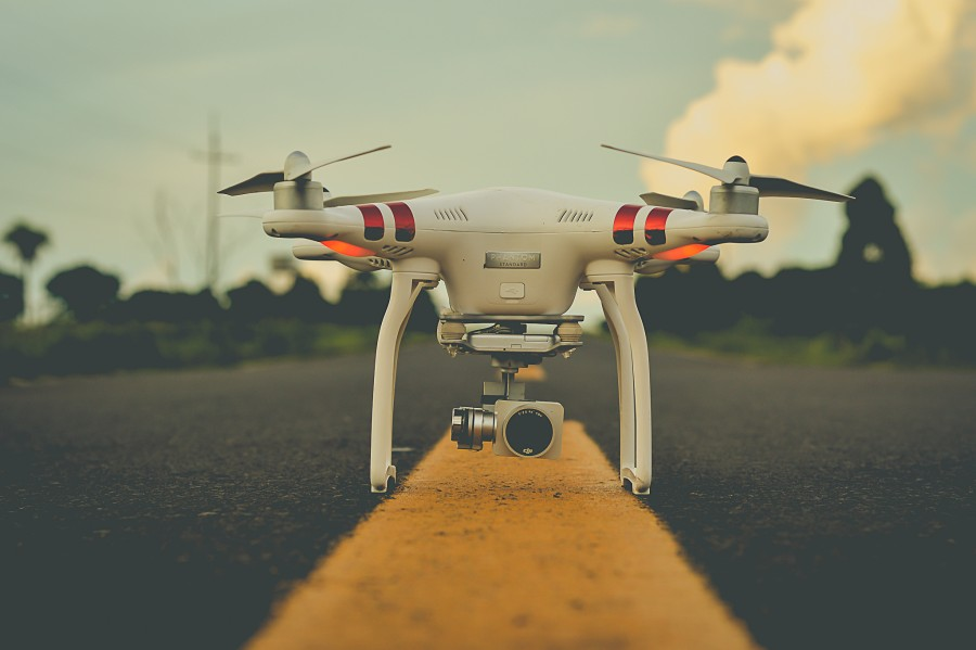 drone, Close-up, camera, path, asphalt, digital camera, technology, spy, safety, focus on foreground, spotlight