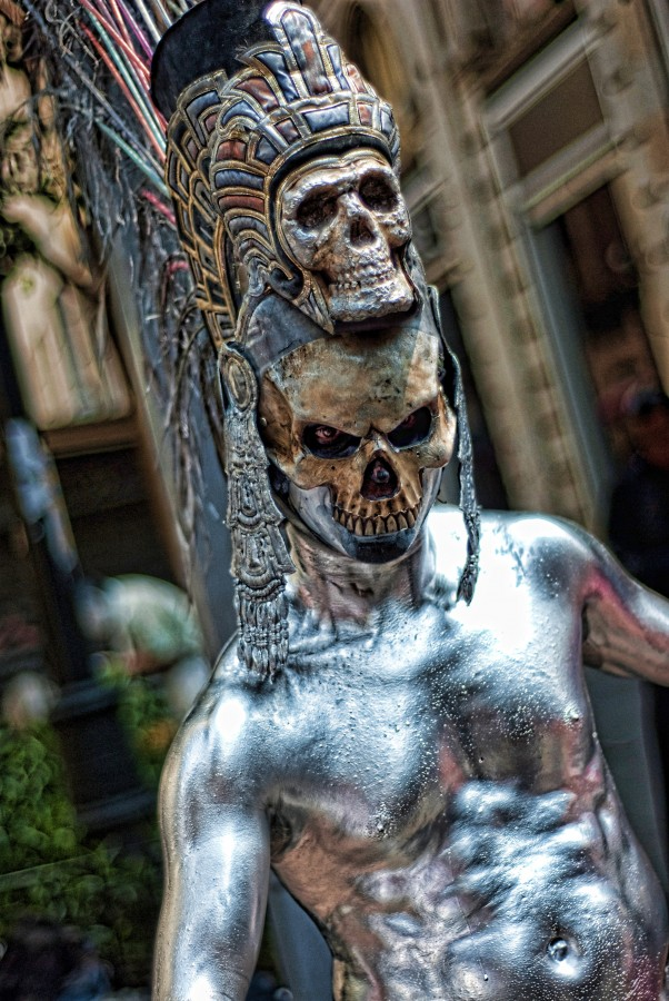 makeup, art, performance, street, actor, skull, dead, silver, fear, death, legend, folklore, mexico, city, live, face, model, look, style, model makeup, culture, day of the dead, man