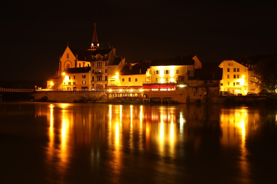 Seyssel, france, rhône, dusk, night, darkness, lights, illuminated, landscape, reflection, Canton of Seyssel, landscape