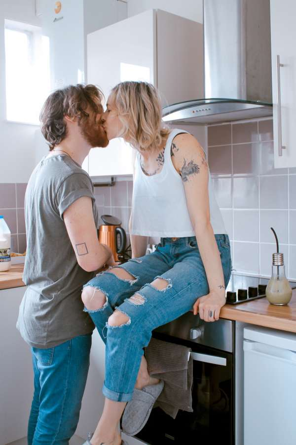 couple, young, two people, love, interior, kitchen, kisser, man, woman, cario, boyfriends, marriage,