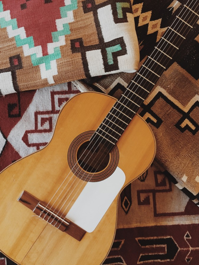 guitar, string, instrument, music, rug, mexico, object, inspiration