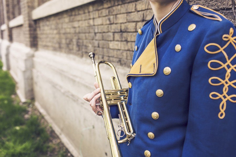 trumpet, musician, man, trumpeter, band, music, dress, suit, uniform,