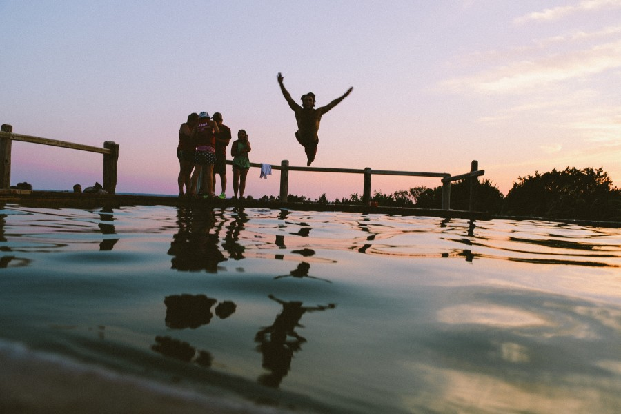 pool, water, jump, jump, young, fun, man, adult, friend, friends, family, people, sunset, open arms, sky, joy, happiness, freedom,