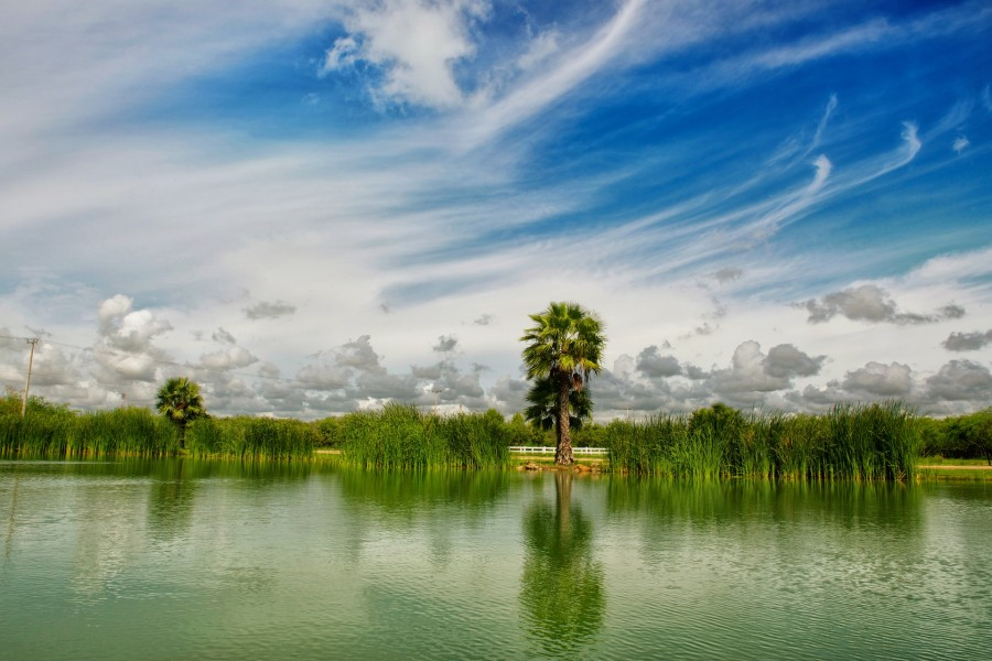 landscape, sky, clouds, nature, blue water, blue sky, sun, reflection, calm, light, Mexico, peace, relax