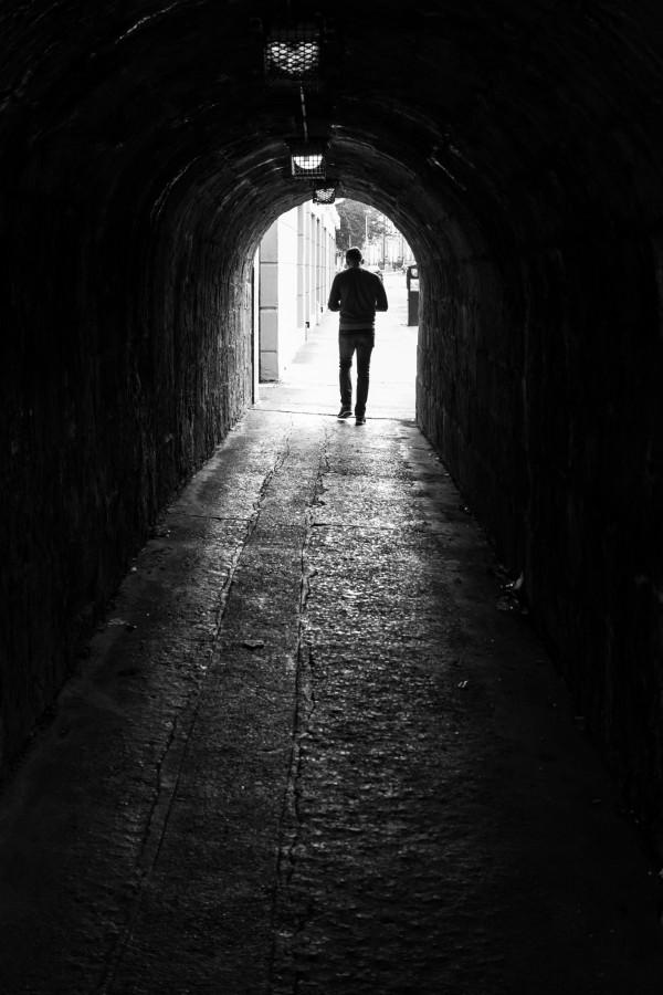 35mm, blackandwhite, black and white, candid, dublin, europe, ireland, light, man, photo, photography, shadow, sony, street, tunnel, urban, walking, man, one person,