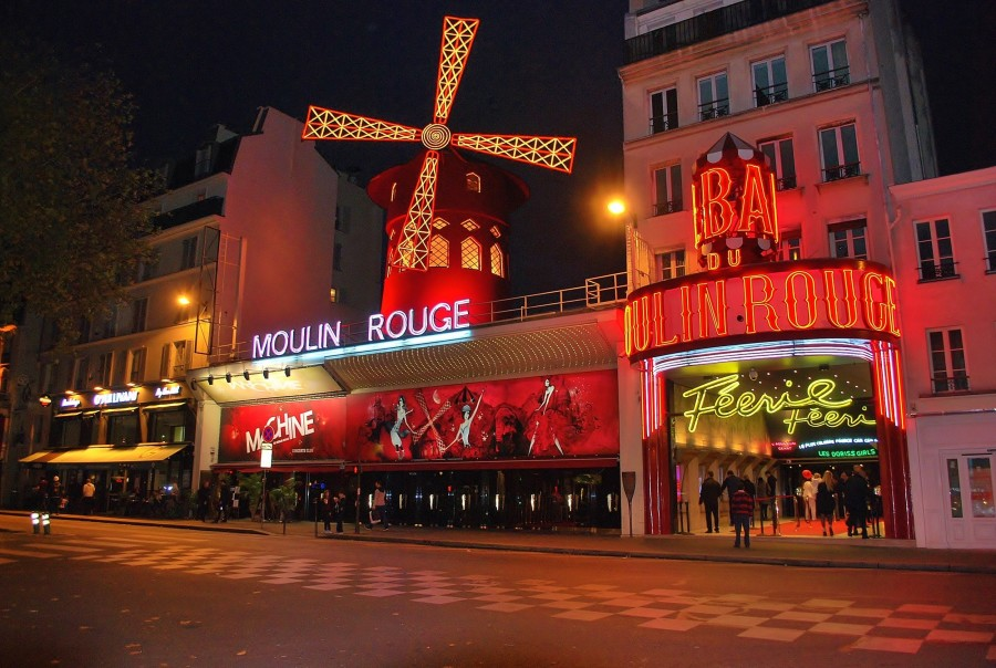 Red Mill, paris, montmartre, night, neon light, landmark, tourism, travel, urban, entertainment district, nightlife, france, europe, theater, france, europe