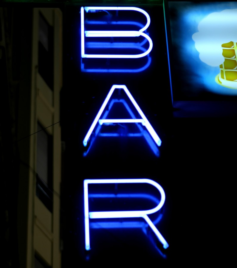 Bar, signboard, poster, neon, blue, night, lit, sign,