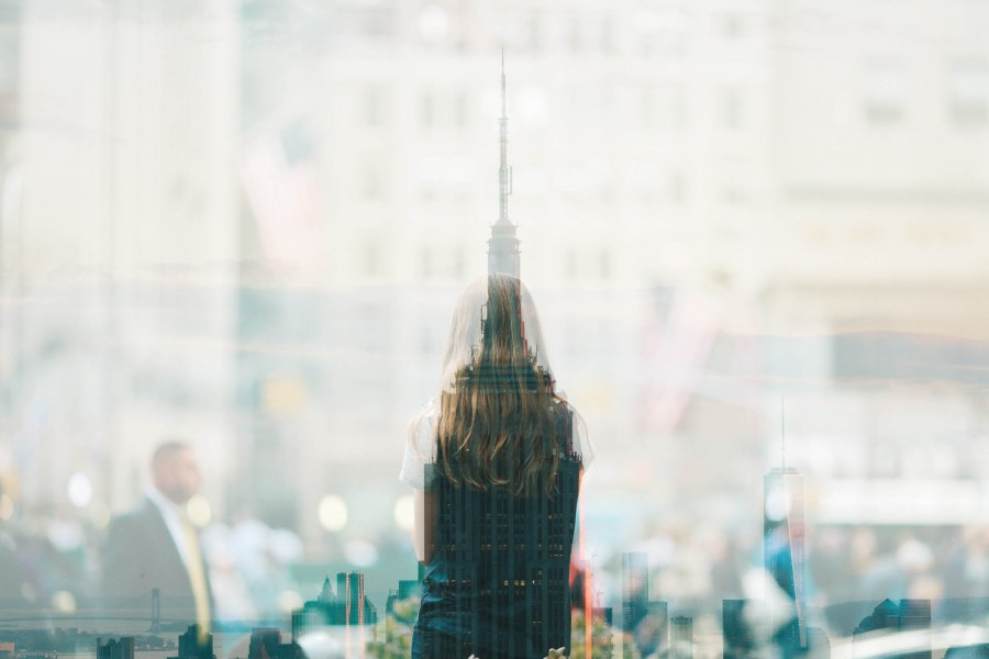 urban, window, glass, reflection, day, city, people, woman, movement, business concept,
