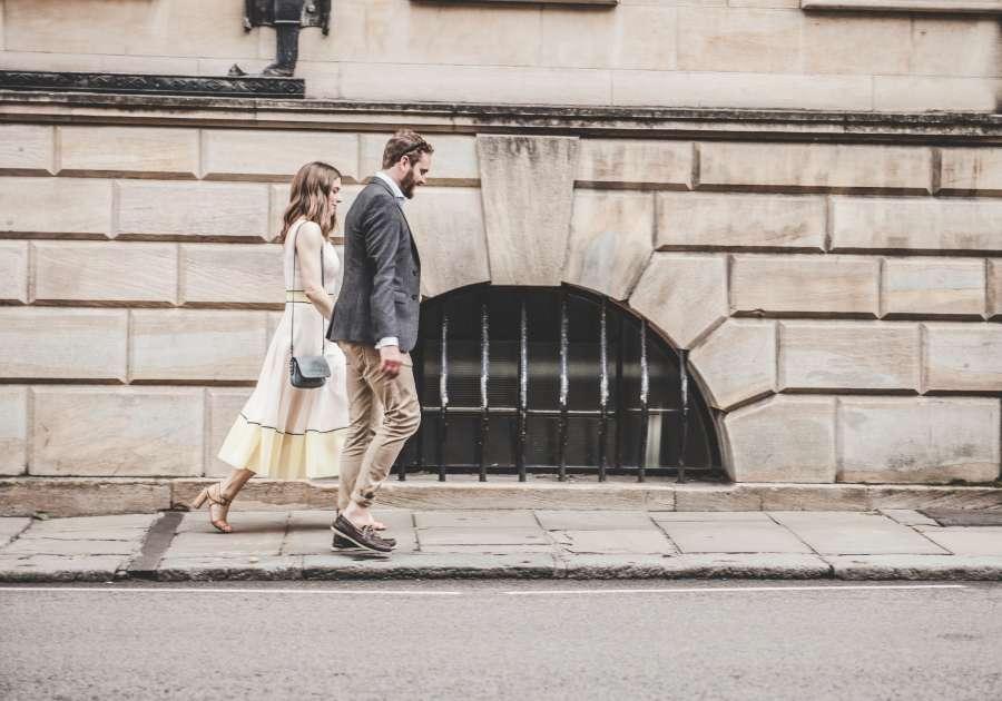 couple, adult, walking, walking, young, outside, city, urban, street,
