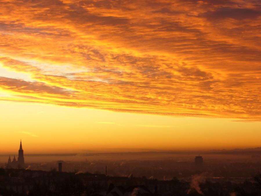sunrise, morgenrot, sun, germany, sunset, nobody, urban, cityscape,