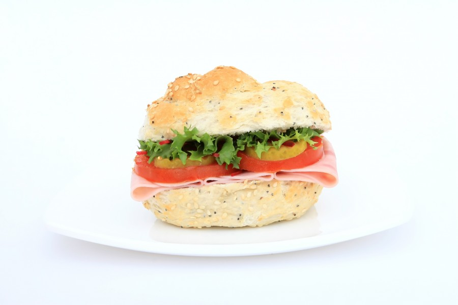 sandwich, ham, cheese, tomato, white background, dish, food,