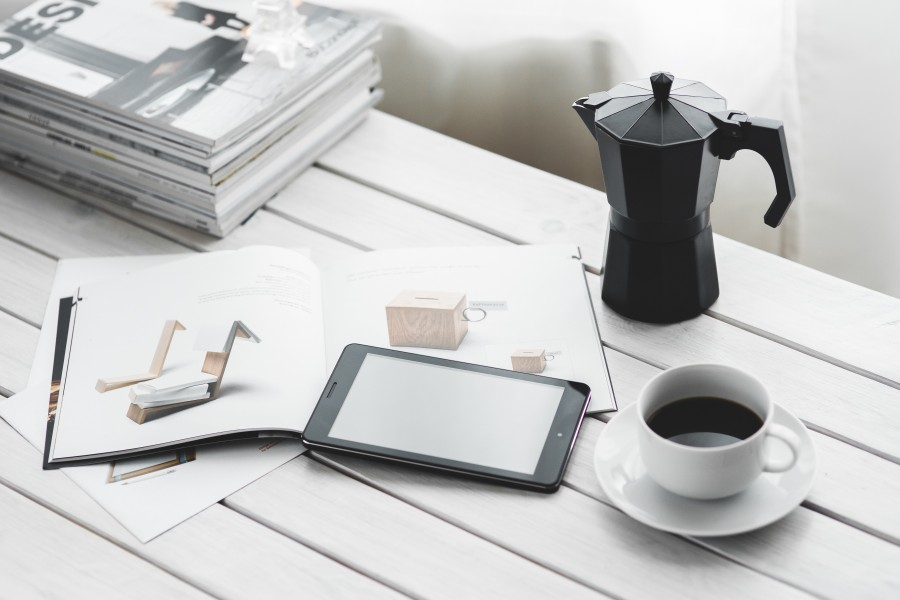 technology, digital, tablet, digital tablet, computer, device, black, white, desk, coffee, drink, magazine, magazines, work, workspace, relax, leisure time