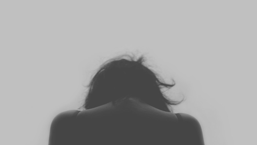 one person, people, woman, black and white, young, back, sadness, melancholy, concept, sad,