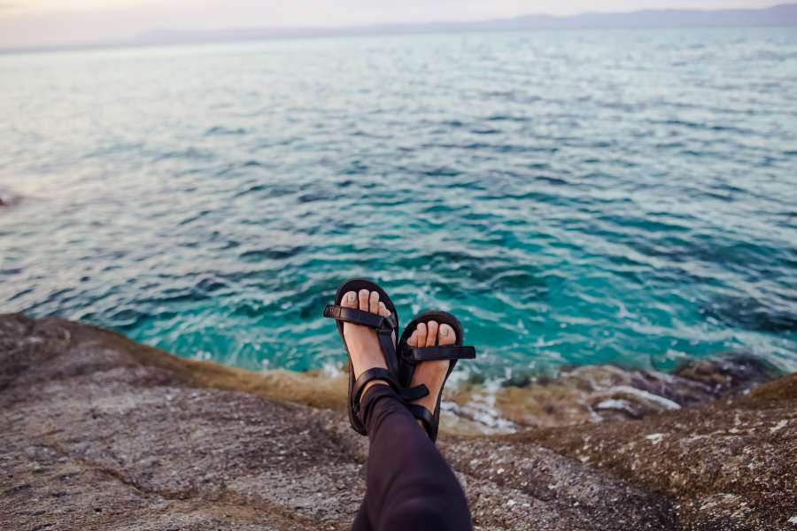 woman, foot, feet, sandal, sea, coast, relax, vacation, summer, water, rest, person, people,