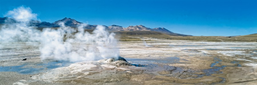 Atacama Desert, Chile, Antofagasta, crater, geyser, steam, tatio, landscape, boiling magma, San Pedro de Atacama, geyser field, northern Chile, mountains, blue sky