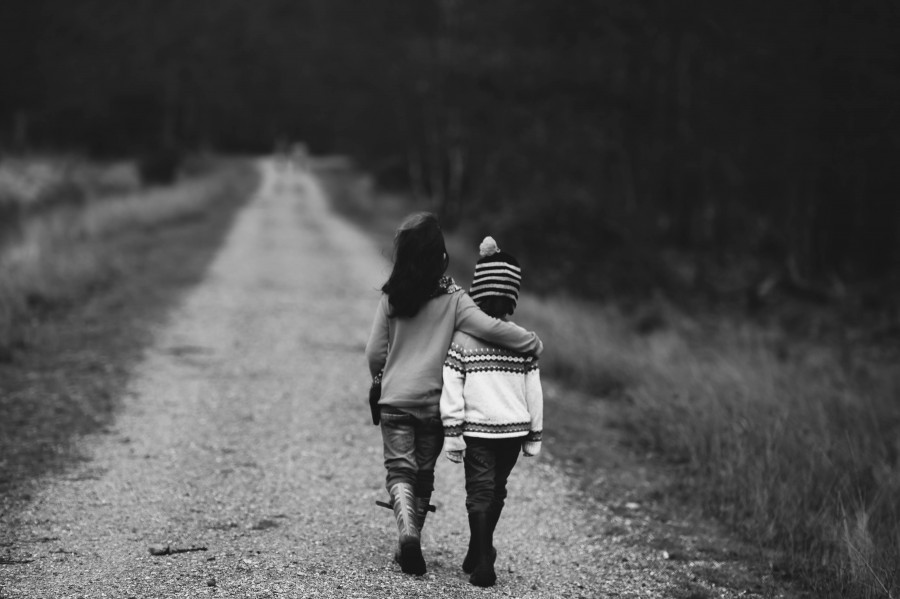 children, walking, road, distant, support, road, highway, friends, friendship, child, family, family walking together, childhood, love, young love