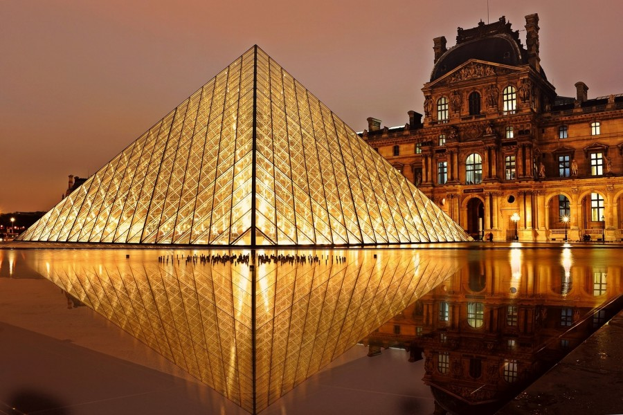 Louvre, pyramid, paris, architecture, tourism, france, world, travel, landscape, Lights, illuminated, night