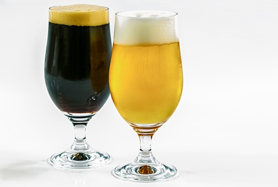 Blonde, golden, drink, refreshing, craft, glass, foam, two, black, beer
