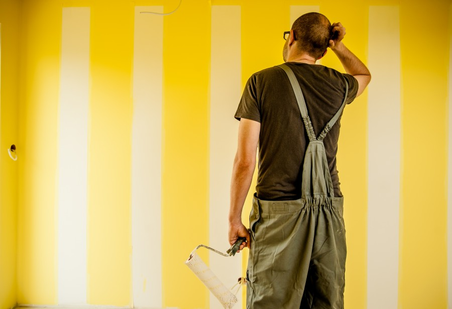 man, adult, painter, painting, paint, interior, yellow, roll, activity, decoration, think, doubt, doubtful, wall,