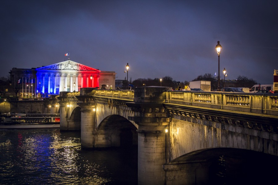 paris, france, flag, europe, french, tourism, famous, paris france, european, bridge, landscape, colors, illuminated, lights, lanterns, night