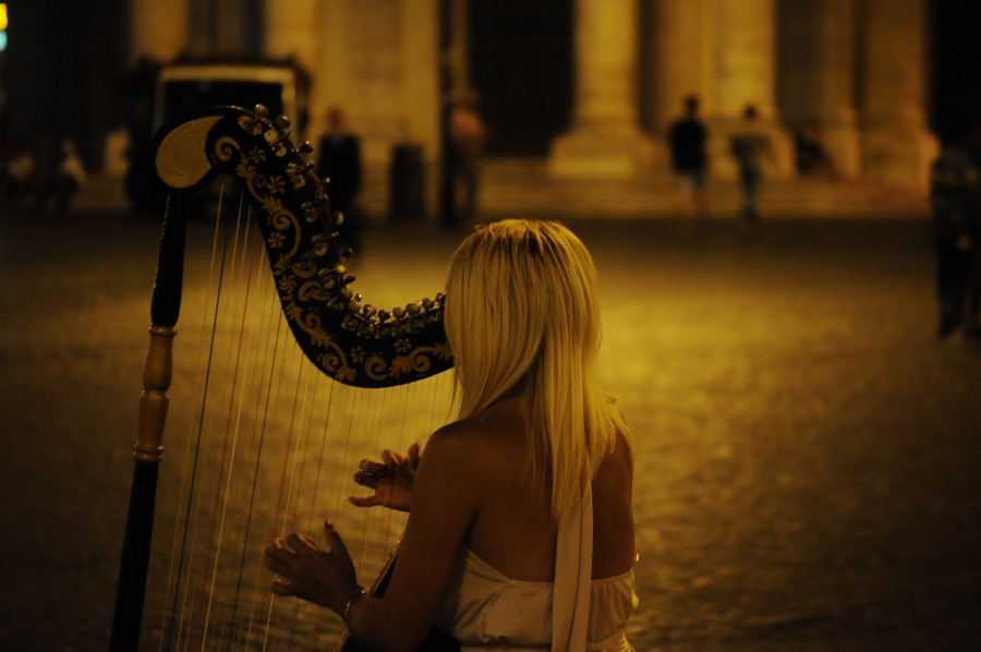 woman, music, harp, playing, playing, sound, instrument, harpist,