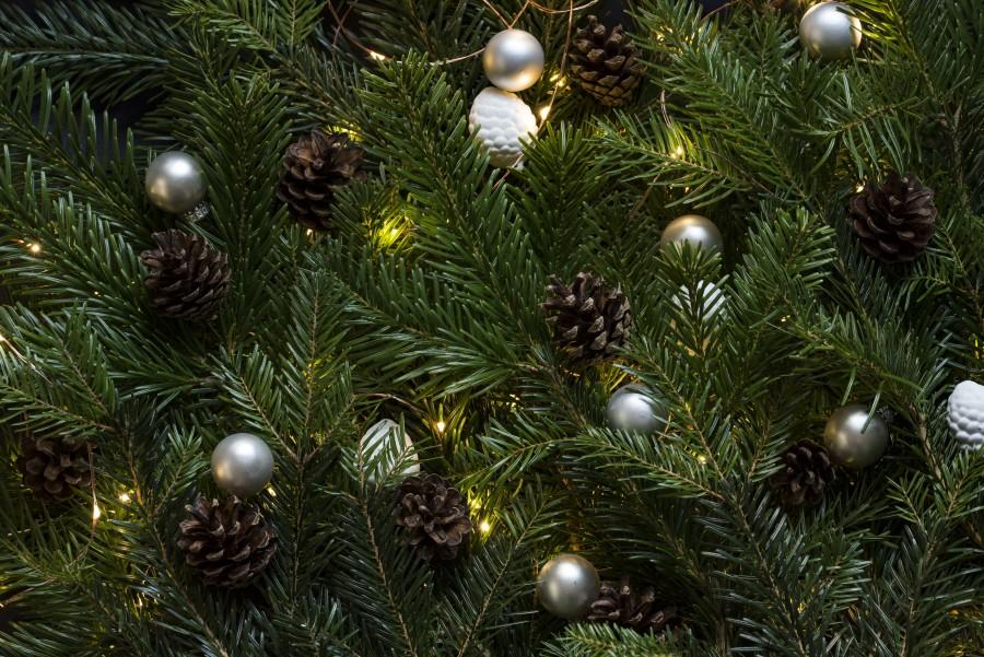 tree, christmas, decoration, ornament, ball, silver, background, background, pine, Christmas, celebration, celebration,