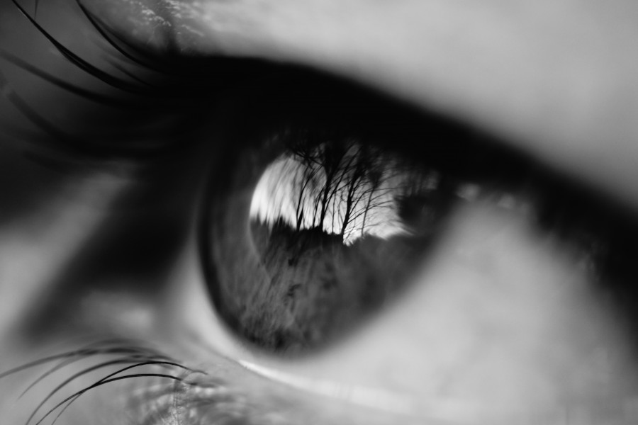black and white, eye, eyes, reflection, person, people, woman,