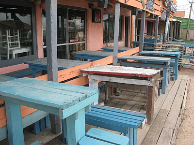 restaurant, front view, day, exterior, table, tabl