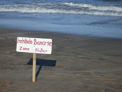 free images  No Swimming sign beach Rocha in Uruguay