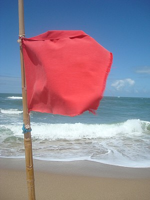 ocean, Uruguay, summer, sea, flag, flags, danger,