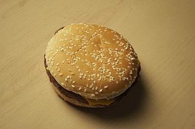 free images  Eating hamburger, seen from above, junk, fast food