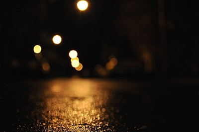 free images  , Street, night, wet, light, lights, out of focus,