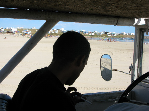 south america, south america, america, Uruguay, polonium out, coast, beach, day, outdoor, outside, summer, vacation, heat, one person, people, man, Mid Adult, 20-30 Years, shadow, shadows, mirror rearview mirror, silhouette, jeep, 4x4, truck, transportation, auto, car, truck, autos, cars, trucks,